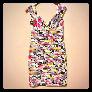 London Times floral pleated cocktail dress 6P